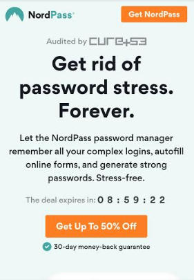 NordPass Growth Hacking Strategy: countdown clock on a sale, to create urgency