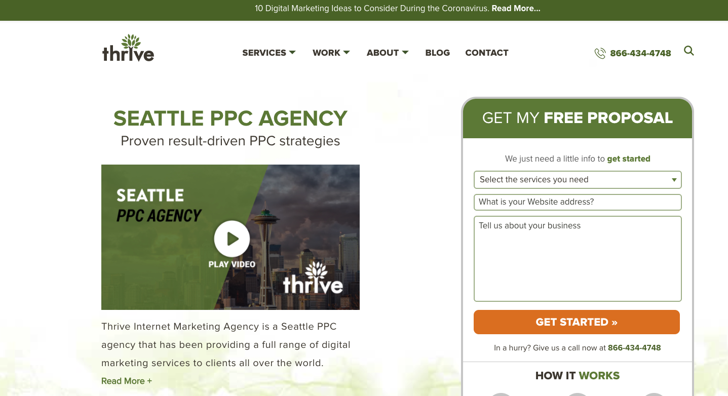 local landing page for seattle ppc agency