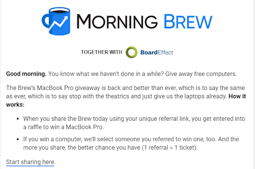 morning brew macbook giveaway