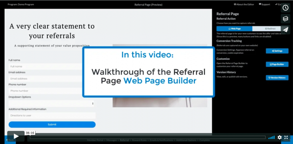 walkthrough of referral page builder video