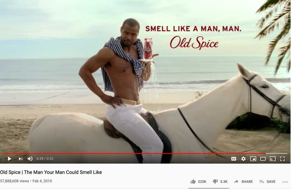 Old Spice YouTube Video smell like a man