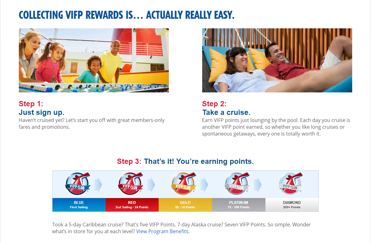 Carnival Cruises' example of a loyalty program