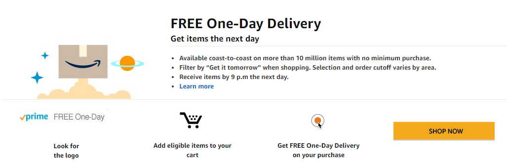 Prime free one day delivery