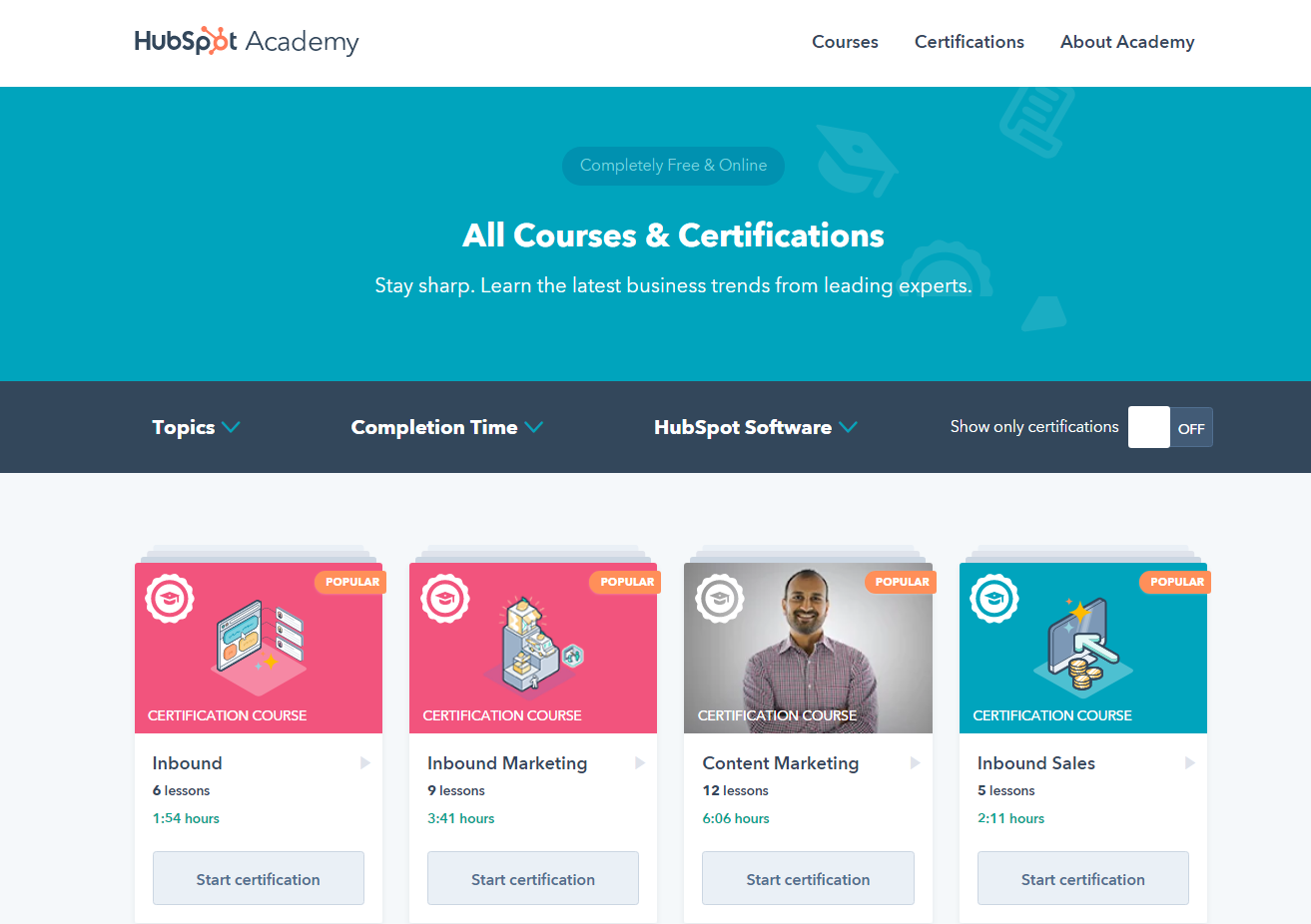 HubSpot Academy free resources