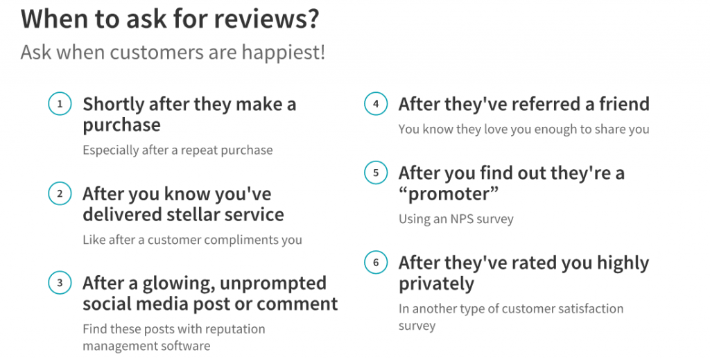 when to ask for reviews