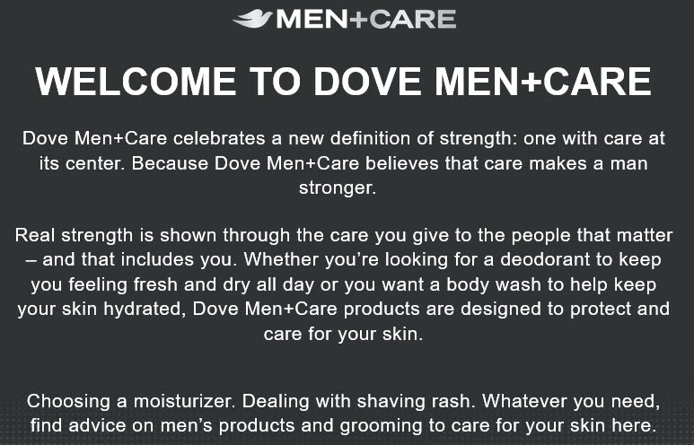 dove men care brand mission statement